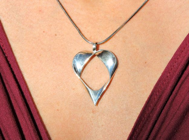 Mobius Band Heart Pendant in Premium Silver