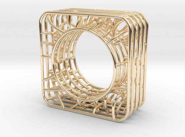 LOFF - wire cubic Ring and pendant in 14K Yellow Gold