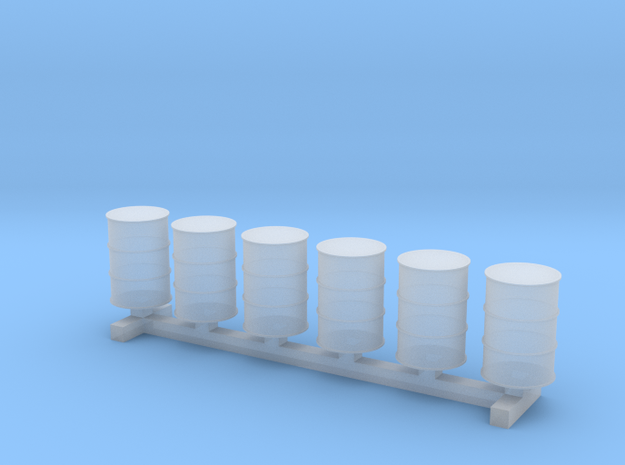 55 Gallon Drums 1:144 6pc in Smooth Fine Detail Plastic