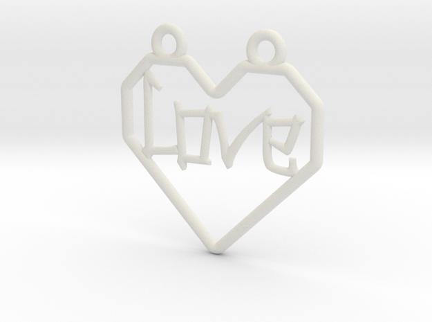 Origami Heart - outline in White Natural Versatile Plastic