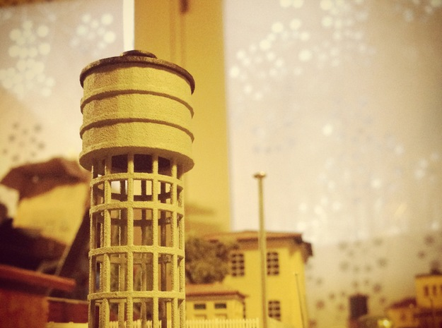 Z Scale Water Tower FS Italian Railways in White Natural Versatile Plastic