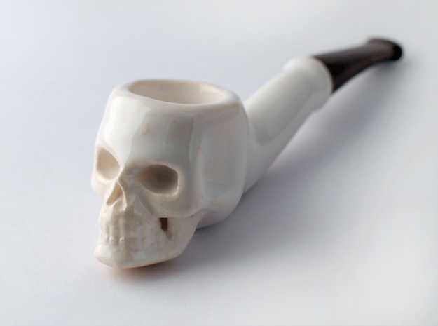 Skull Tobacco Pipe (old ceramic material) 3d printed Glazed Ceramics, Antique Bronze Glossy