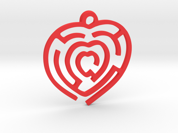 Pendant Mazy Heart  in Red Processed Versatile Plastic