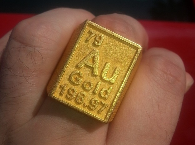 Gold Periodic Table Statement Ring Size 10 in Polished Gold Steel