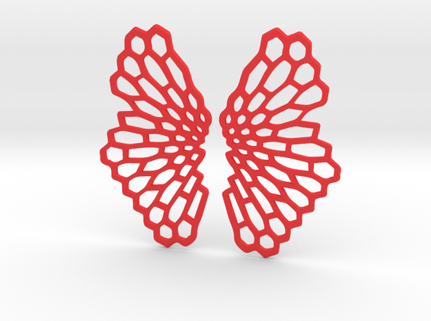 Honeycomb Butterfly Earrings / Pendant in Red Processed Versatile Plastic
