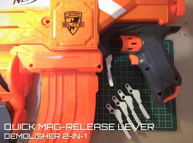 Quick Mag-release (Nerf Demolisher)  in White Natural Versatile Plastic