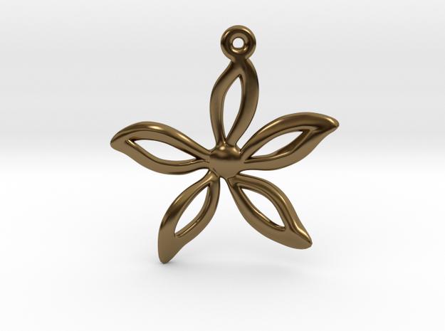 Flower pendant in Polished Bronze