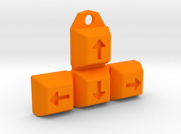 Arrow-Keys Keychain / Pendant in Orange Processed Versatile Plastic