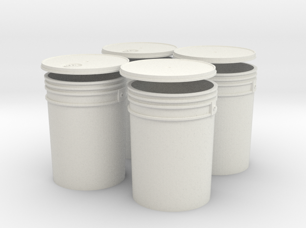 1:6 Scale 5 gal Buckets 4X set in White Natural Versatile Plastic
