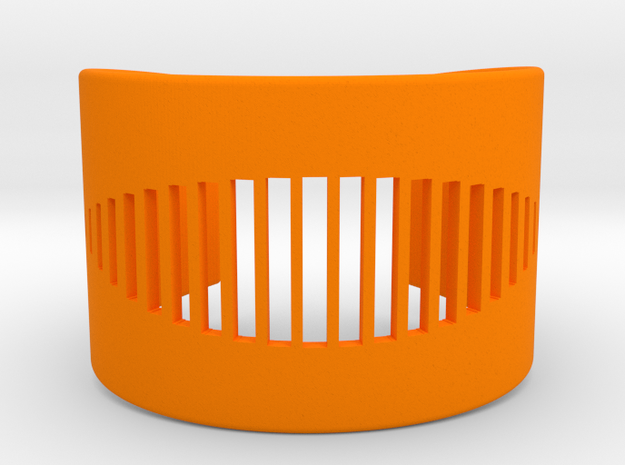 Wrist Cuff - pattern cutout (extra small) in Orange Processed Versatile Plastic