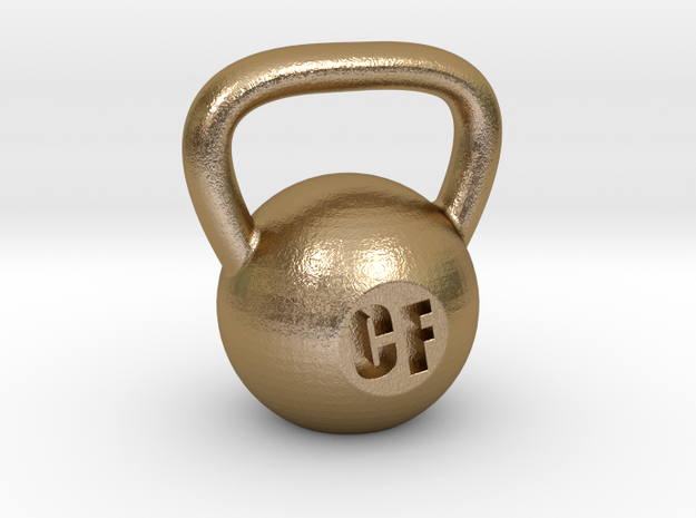 Crossfit Kettlebell Weight Pendant and Keychain in Polished Gold Steel