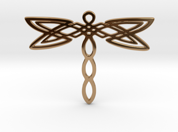 Dragonfly pendant in Polished Brass