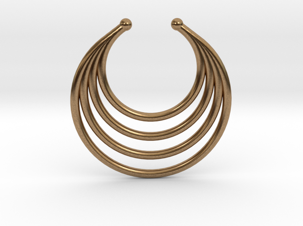 Faux Septum - Dropped Rings (medium) in Natural Brass