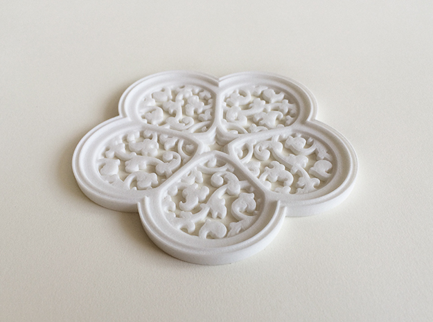 Cinquefoil Coaster in White Strong & Flexible