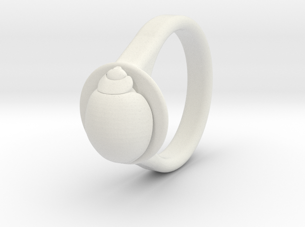 Ladybird Ring (16) in White Natural Versatile Plastic