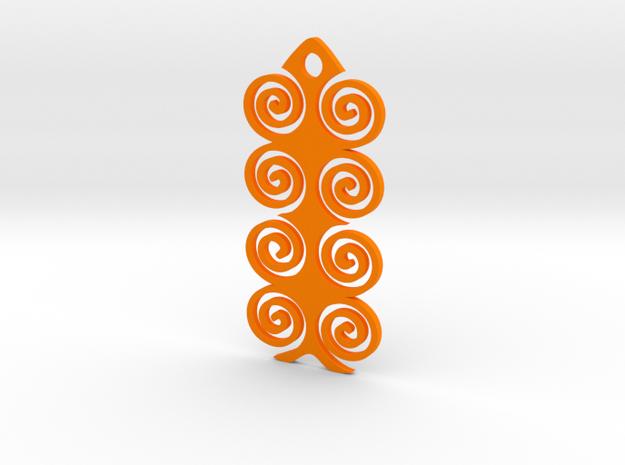 Spiral Pendant in Orange Processed Versatile Plastic