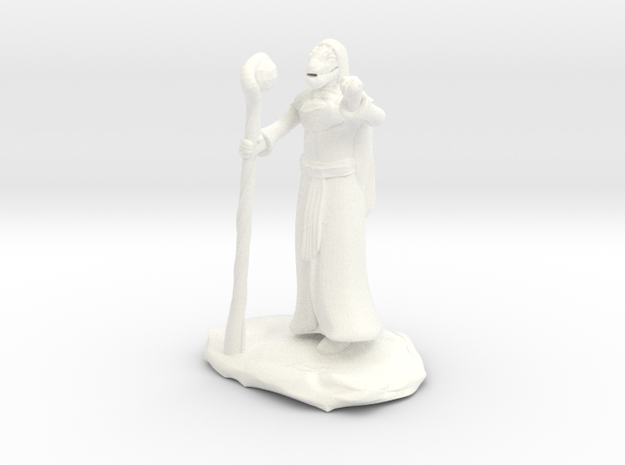 Dragonborn Wizard Outlander Guide with Staff in White Processed Versatile Plastic