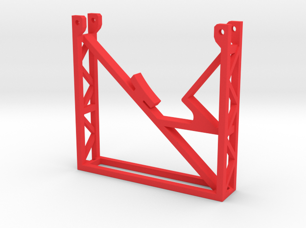 Rear Support Stand Rev 1 in Red Processed Versatile Plastic