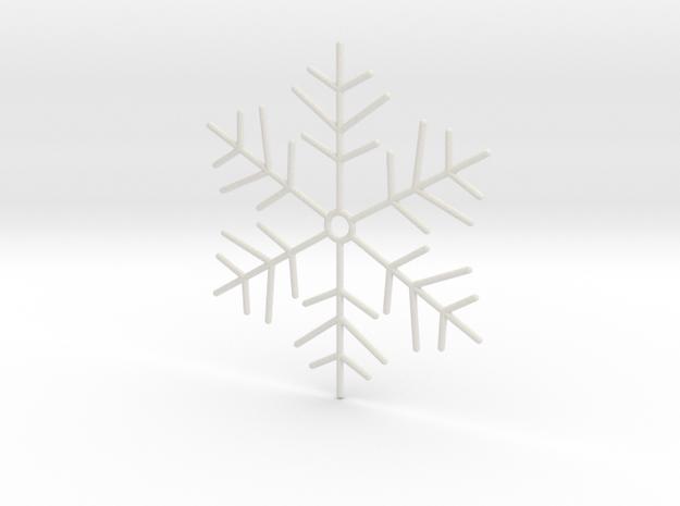 Snowflake Pendant 4 in White Strong & Flexible