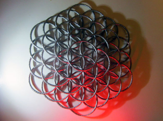 Flower Of Life Weave - 8cm  in Polished Nickel Steel