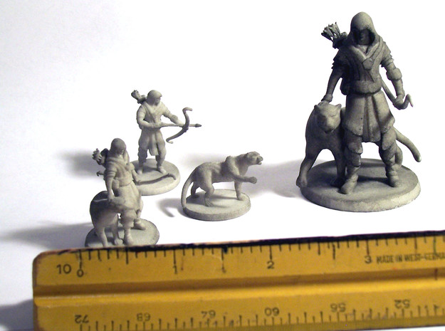 Elven Archer / Beastmaster 3d printed The three small variations and the larger display model.