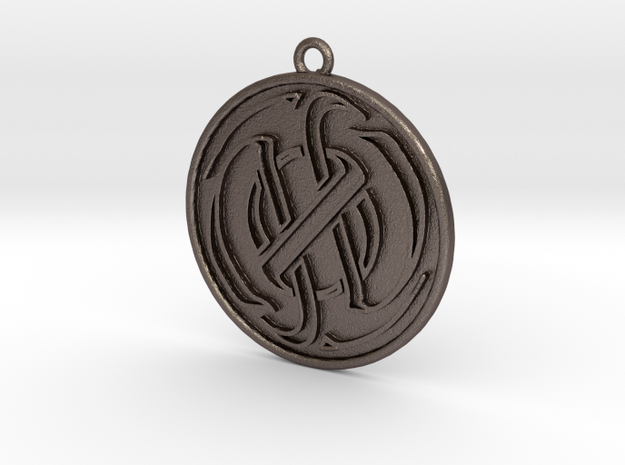 20111121 Logo In Red Circle Border in Polished Bronzed Silver Steel