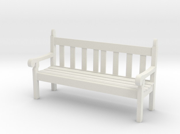 1:20.32 Scale Hyde Park Bench in White Natural Versatile Plastic