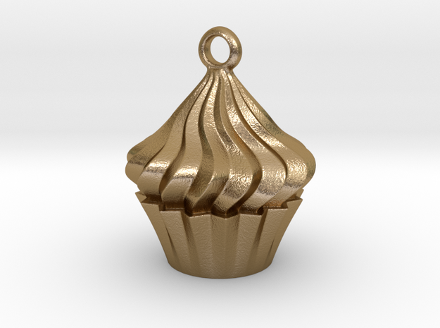Cupcake Pendant in Polished Gold Steel