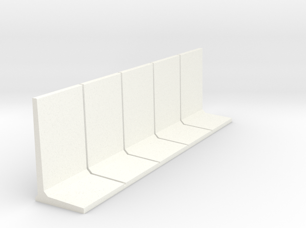 HO Retaining Wall 3000mm 5pc in White Processed Versatile Plastic