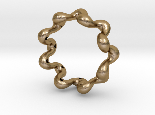 Wavy bracelet 80 in Polished Gold Steel