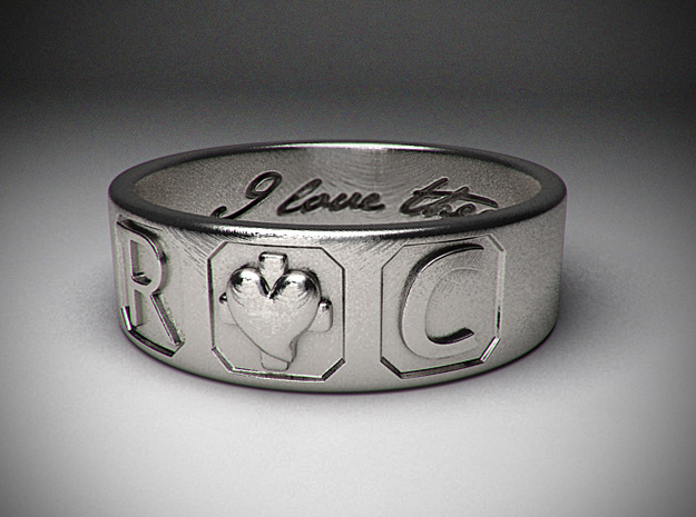 R and C ring size 7.5 in Polished Silver
