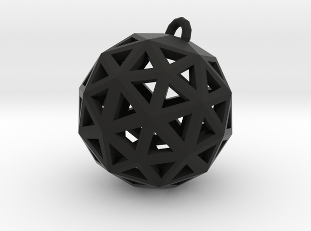 Geo Pendant in Black Natural Versatile Plastic