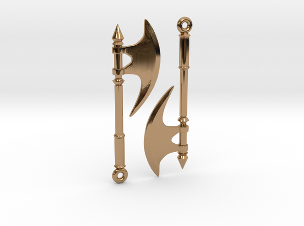 Axe Earrings01 in Polished Brass