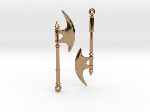 Axe Earrings02 in Polished Brass