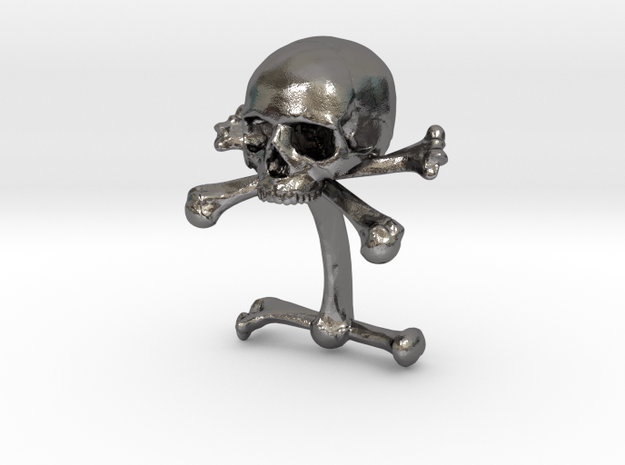 Cufflink Skull & Bones (just one) in Polished Nickel Steel