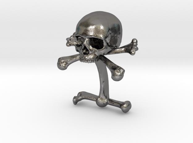 Cufflink Skull & Bones (just one) in Polished Nickel Steel