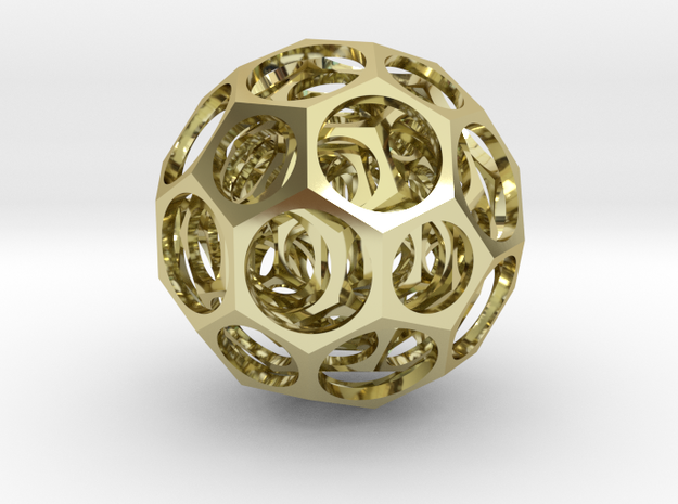 Nested truncated icosahedra 3d printed