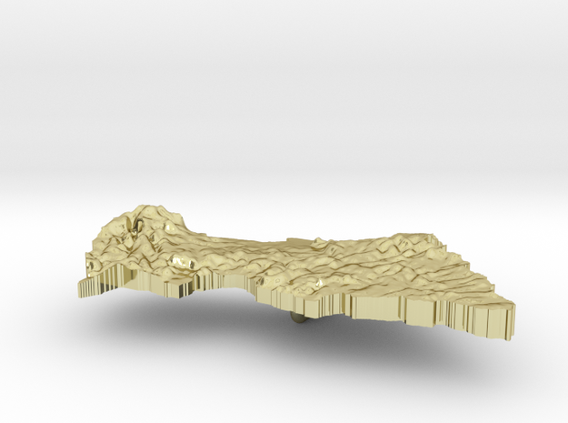 Central African Republic Terrain Silver Pendant 3d printed