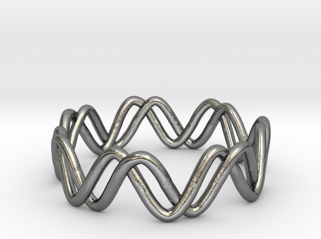 Sine + Cosine Ring (Size 7) in Polished Silver