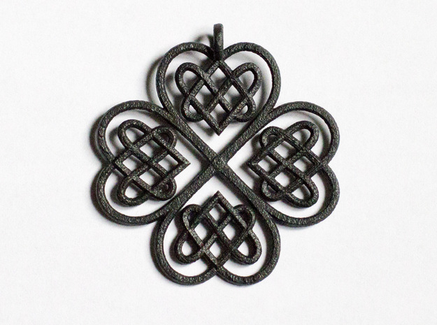 Clover Pendant in Matte Black Steel