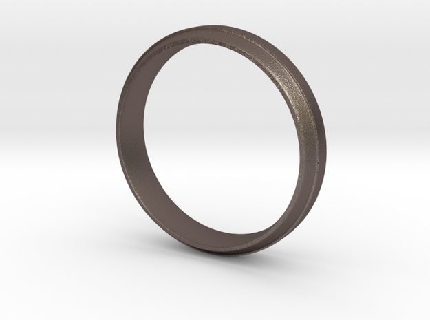 Simple Ring in Polished Bronzed Silver Steel