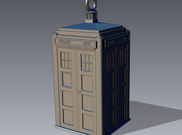 TARDIS Earring (or small pendant) in Smooth Fine Detail Plastic