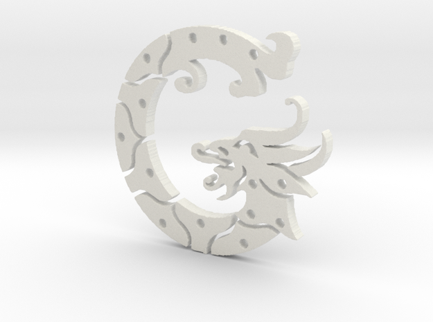 George the Dragon in White Natural Versatile Plastic