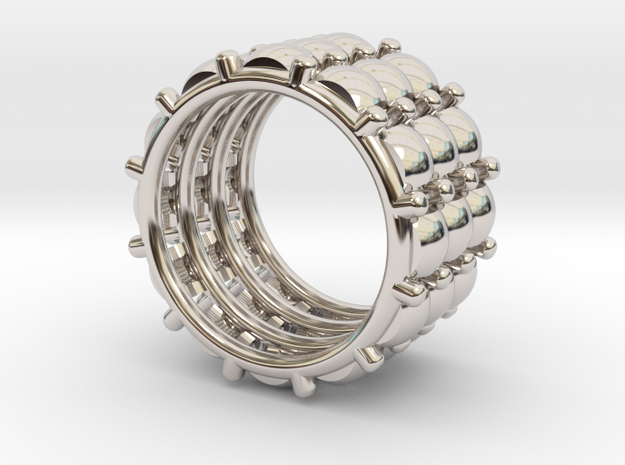 CACTUS 3 RING  S 7.5 in Rhodium Plated Brass