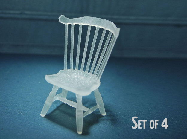 1:48 Windsor Chair, Fan Back - Set of 4 in Frosted Ultra Detail