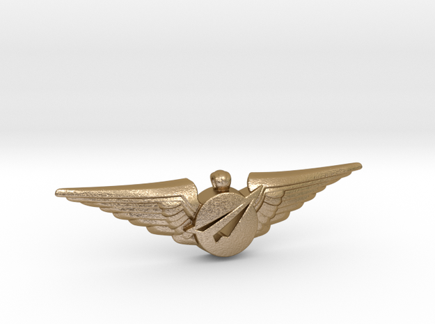Big Imagination Captain's Wings in Polished Gold Steel