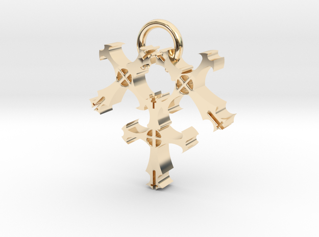 Triple Cross in 14K Yellow Gold