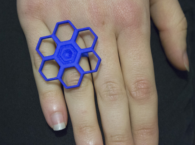Honeycomb Flower ring Small in Red Processed Versatile Plastic