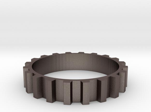 Gear Ring (Sz 7) in Polished Bronzed Silver Steel