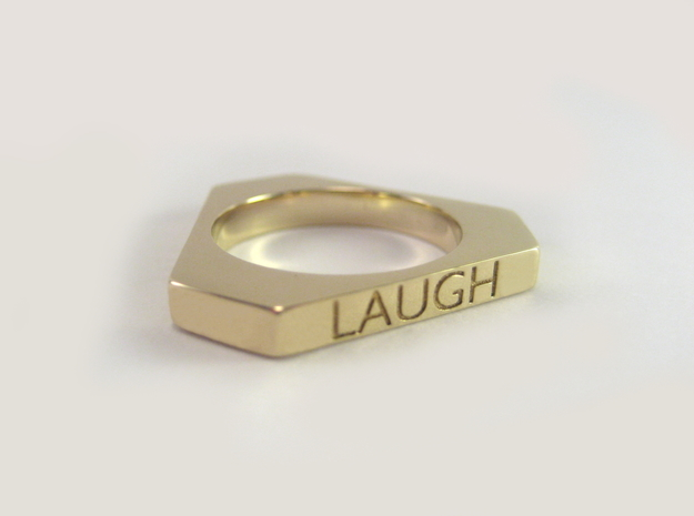 Live Love Laugh Ring (Size 7) in Polished Brass